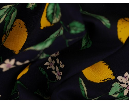 Printed Cotton Poplin Fabric -  Lemons