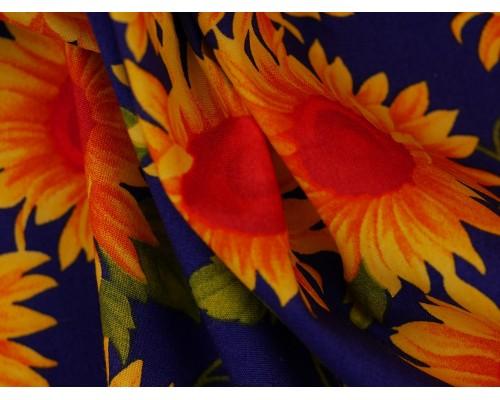Printed Cotton Poplin Fabric - Sunflowers
