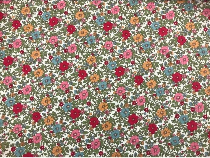 Printed Cotton Poplin Fabric -  Vintage Floral