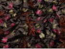 Embroidered Polyester Border Fabric - Delicate Floral on Sheer Black