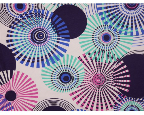 Printed Viscose Jersey Fabric - Circles