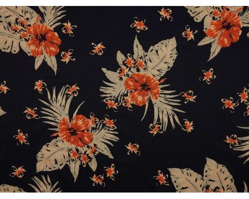 Printed Viscose Jersey Fabric - Deep Ocean Orchid