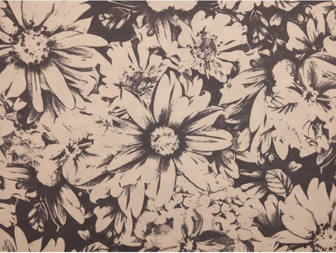 Printed Viscose Jersey Fabric - Cream and Grey Floral