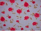 Printed Viscose Jersey Fabric - Red Flowers on Blue