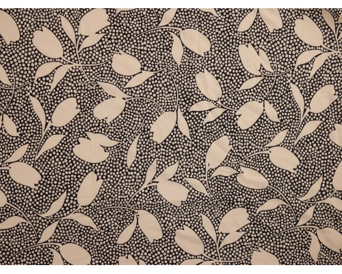 Printed Viscose Jersey Fabric - White Leaves