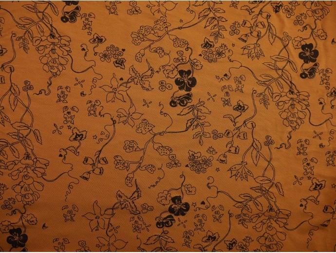 Printed Viscose Jersey Fabric - Wanda Ochre