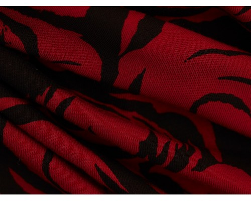 Printed Viscose Jersey Fabric - Red Flowers