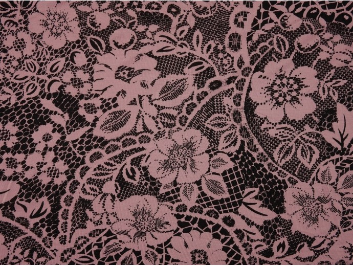 Printed Viscose Jersey Fabric - Pink on Black