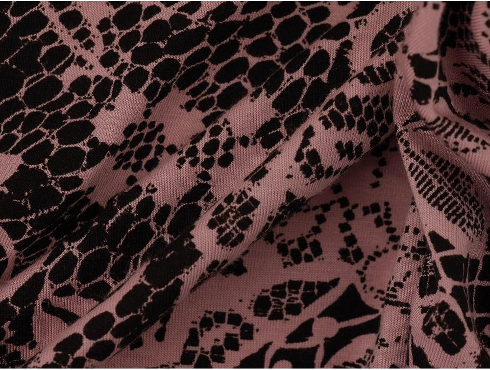 Printed Viscose Jersey Fabric Pink On Black