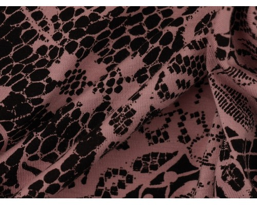Printed Viscose Jersey Fabric - Black on Pink
