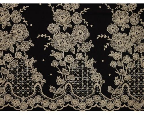 Printed Viscose Jersey Fabric - Cream Mirror Border on Black