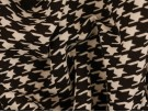 Printed Viscose Jersey Fabric - Black and White Dogtooth