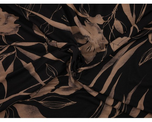 Printed Viscose Jersey Fabric - Taupe on Black