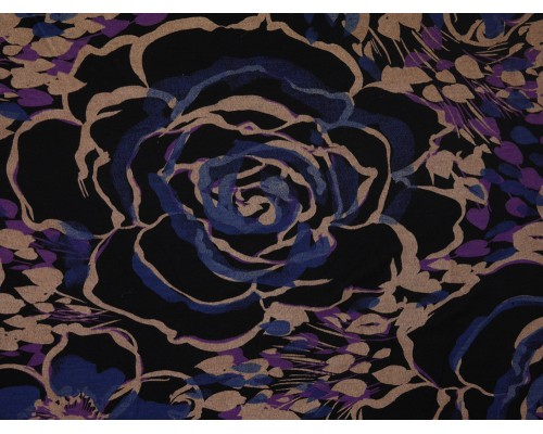 Printed Viscose Jersey Fabric - Large Flowers on Black