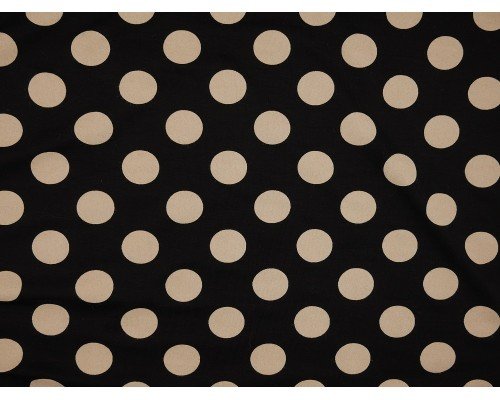 Printed Viscose Jersey Fabric - Large Cream Spot on Black