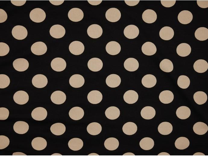 Printed Viscose Jersey Fabric - Large Cream Spot on Black
