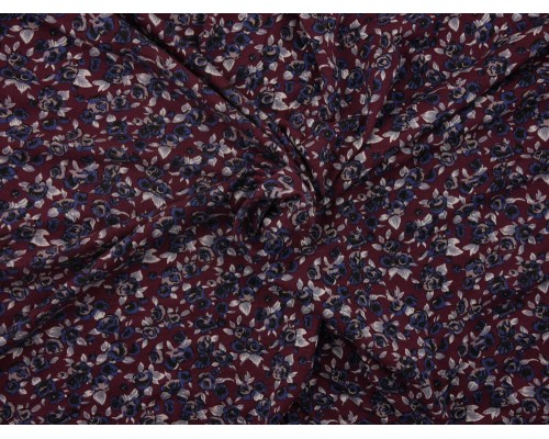 Printed Viscose Jersey Fabric - Ditsy Plum Floral Print