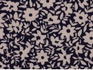 Printed Viscose Jersey Fabric - White and Navy Floral