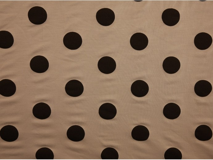 Printed Viscose Jersey Fabric - Large Black Spot on Silver