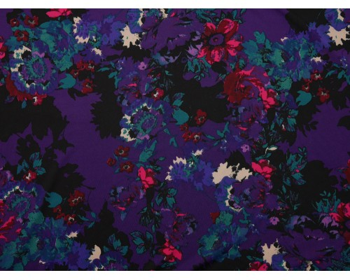 Single Jersey Fabric - Purple Floral Print