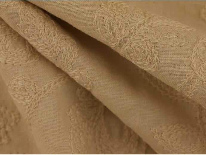Embroidered Linen Fabric - Stone