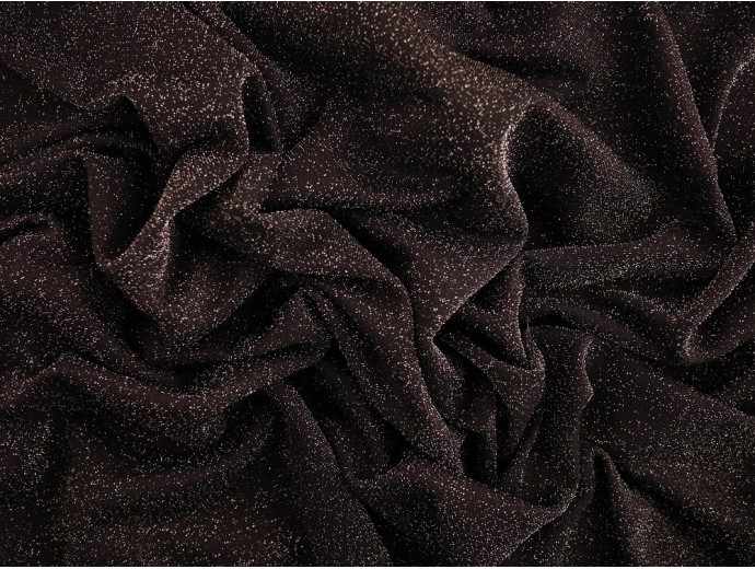 Metallic Jersey Fabric - Silver Sparkle on Black