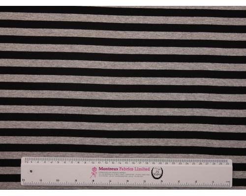 Single Jersey Stripe Fabric - Black / Marl Grey