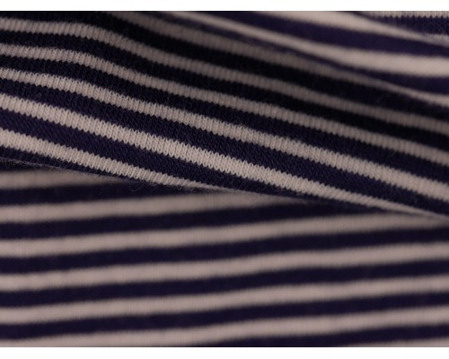 Single Jersey Fine Stripe Fabric - Navy / White