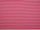 Single Jersey Stripe Fabric - Cerise / White