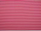 Single Jersey Stripe Fabric - Cerise / White