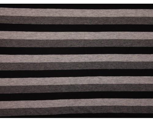 Single Jersey Stripe Fabric - Black / Grey