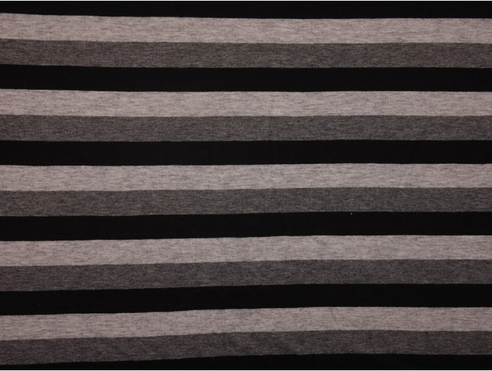 Single Jersey Stripe Fabric - Black / Grey