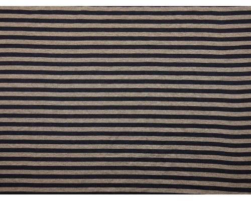 Single Jersey Fine  Stripe Fabric - Navy / Grey