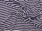 Single Jersey Stripe Fabric - Navy / White