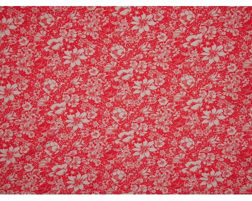 Single Jersey Printed Fabric - White Floral on Dubarry