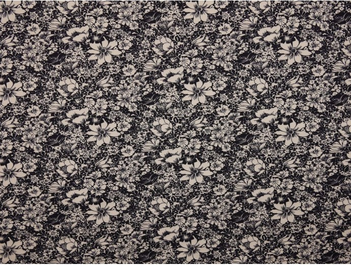 Single Jersey Printed Fabric - White Floral on Indigo