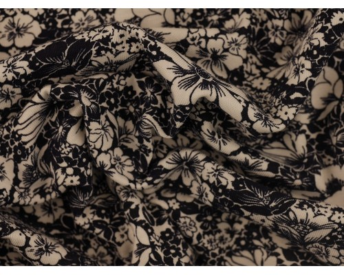 Printed Viscose Jersey Fabric - White Floral on Indigo