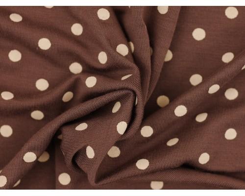 Single Jersey Printed Fabric - Cream Spot on Taupe