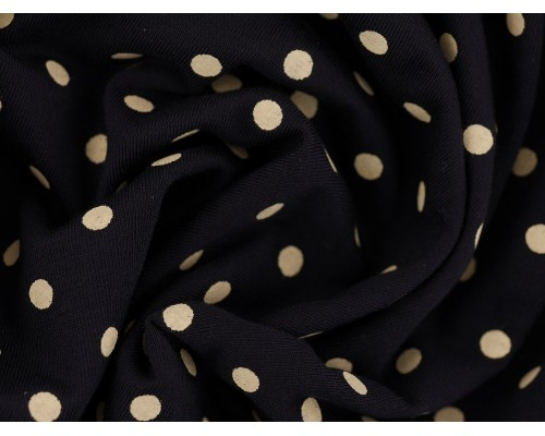 Single Jersey Printed Fabric - Cream Spot on Navy