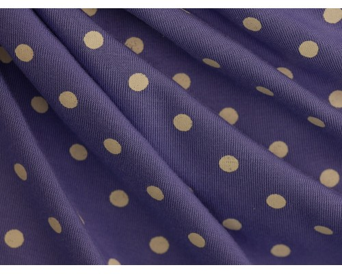 Single Jersey Printed Fabric - Cream Spot on Periwinkle
