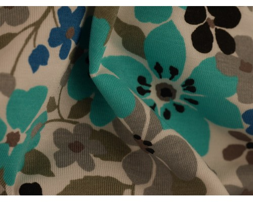 Single Jersey Printed Fabric - Turquoise and Grey Flowers