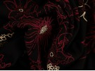 Single Jersey Printed Fabric - Merlot and White Flowers on Black