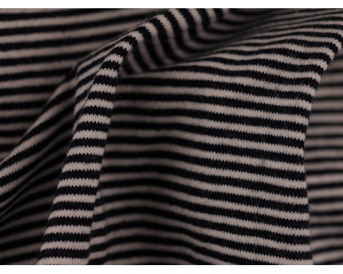Single Jersey Fine Stripe Fabric - Black / White