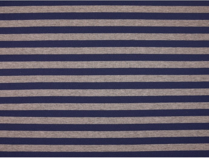 Single Jersey Stripe Fabric - Indigo / Marl Grey