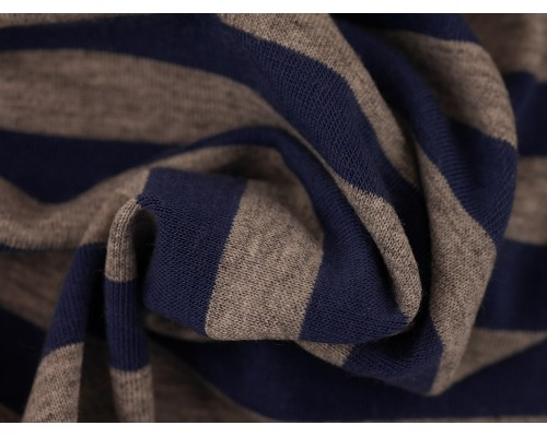 Single Jersey Stripe Fabric - Indigo / Marl Grey