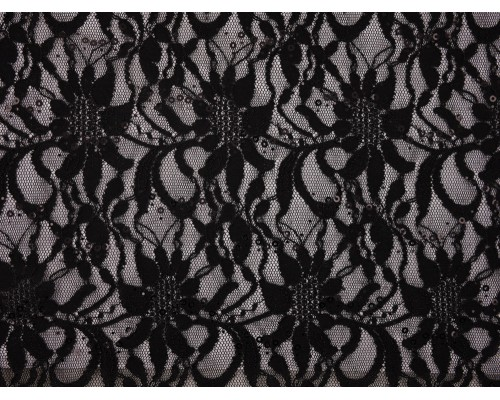 Sequined Lace Fabric - Black