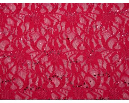 Sequined Lace Fabric - Fuchsia