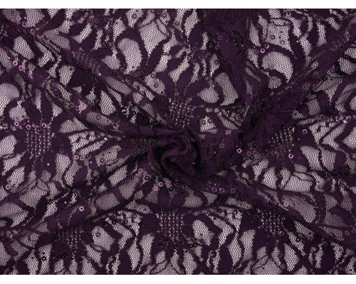 Sequined Lace Fabric - Plum