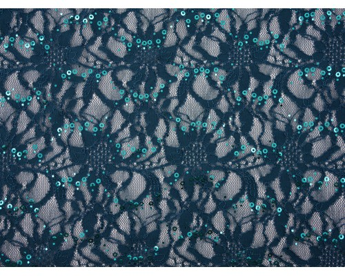 Sequined Lace Fabric - Teal
