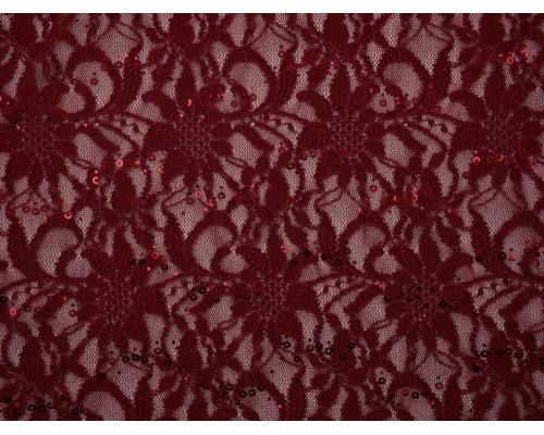 Sequined Lace Fabric - Wine